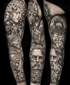 30 new ideas tattoo hombre brazo zeus Zeus Tattoo, Poseidon Tattoo, Statue Tattoo, Hercules Tattoo, Hades Tattoo, Tattoo Bein, Full Sleeve Tattoo Design, Leg Sleeve Tattoo, Leg Tattoo Men
