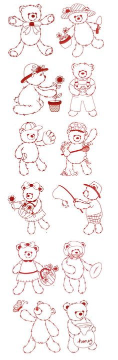Embroidery | Free Machine Embroidery Designs | Fuzzy Teddy Bears Redwork
