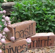 Turn old bricks into herb garden markers. Bricks used as garden edging could do . Turn old bricks into herb garden markers. Bricks used as garden edging could do double duty as plant signs. Garden Crafts, Diy Garden Decor, Garden Projects, Garden Art, Easy Garden, Garden Decorations, Garden Ideas, Brick Projects, Diy Projects