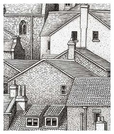 Combining Cross Hatching and Stippling - Whitby Detail 1 (top left)
