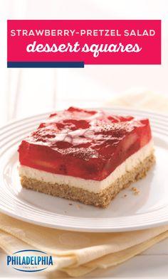 Eat smart with fluffy Strawberry-Pretzel Salad Dessert Squares! A crushed pretzel crust keeps these Strawberry-Pretzel Salad Dessert Squares interesting. Jello Recipes, Köstliche Desserts, Delicious Desserts, Cake Recipes, Dessert Recipes, Dessert Salads, Recipies, Strawberry Pretzel Salad, Strawberry Desserts