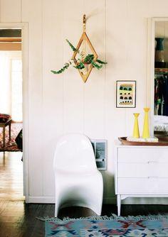 geometric hanging planter // modern brass & wood decor