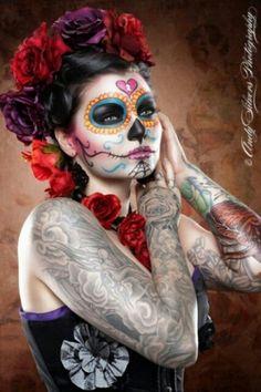 Dia de los Muertos make up skull pretty  red flowers