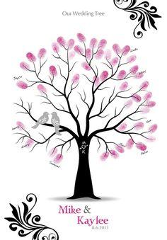 Fingerabdruck Hochzeit Baum Gast Buch Poster mit Stempelkissen, Hochzeitsgeschenk, Stammbaum, personalisierte Print w / Liebe Vögel, 13 x 19 auf Etsy, 27,13€