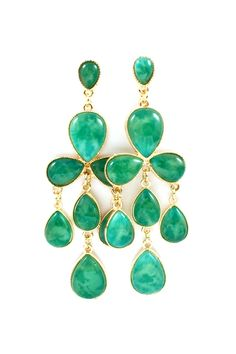 Emerald Lucite Kyle Earrings » These are beautiful!