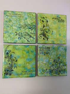 Coasters. Alcohol ink on glazed tiles, sealed and stamped with Staz-on ink and sealed again. -Marg Mac