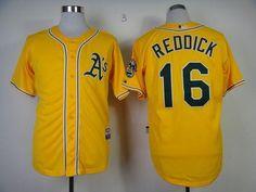 Athletics #16 Josh Reddick Yellow Cool Base Stitched MLB Jersey