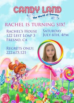 Candy Land Invitations birthday invitations Printable Invitations diy Invitations Children custom Invitations