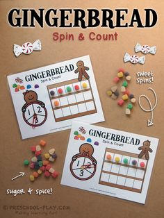 Gingerbread Spin & Count - This activity teaches number recognition, counting, one-to-one correspondence, and set recognition. Plus! It's supper yummy!  #preschool #prek #kindergarten #christmas #math #prekactivities #preschoolactivities  #teacherspayteachers
