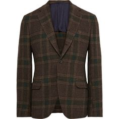 MP Massimo Piombo Brown Slim-Fit Checked Wool-Flannel Blazer ($1,400) ❤ liked on Polyvore featuring mens, men's clothing, sportcoats and brown