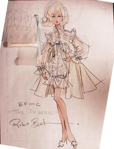 """The Ingenue"" Barbie design sketch w/ swatches by Robert Best"