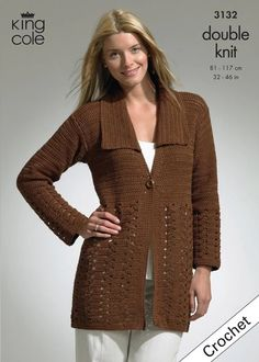 Crochet Jacket and Tunic in King Cole Bamboo Cotton DK - Uncover extra Patterns by King Cole at LoveKnitting. We inventory patterns, yarn, needles and books from all your favourite manufacturers. Crochet Jacket, Crochet Cardigan, Crochet Yarn, King Cole, Crochet Woman, Summer Accessories, Jacket Pattern, Double Knitting, Sweater Shirt