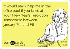 It would really help me in the office pool if you failed at your New Year's resolution somewhere between January 7th and 9th.
