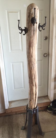 Driftwood Coat tree with custom metal legs and hobby lobby hooks