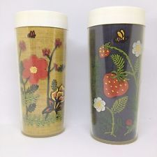 Lot 2 Vintage Thermo Serve 70s Flower Yarn Art Craft Insulated Drinking Cups Mug