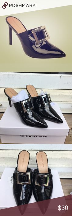 NWT Who What Wear Gemma Buckle Heeled Mules 3.5-inch stiletto heel with silver buckle accent Pointed-toe, open back mule for easy on and off. Beautiful with your party clothes or to dress up a pair of jeans. Who What Wear Shoes Heels