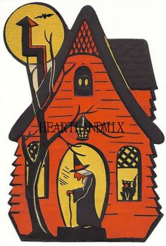 Witch in her cottage - Retro Halloween decoration. Retro Halloween, Halloween Imagem, Beistle Halloween, Vintage Halloween Images, Vintage Halloween Decorations, Holidays Halloween, Halloween Crafts, Halloween Witches, Halloween Halloween