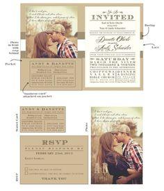 Rustic Wedding Invitations | Rustic, Vintage Wedding....Invites | Wedding invitations I love the look of this