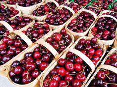 "Baskets and baskets of juicy cherries at ""Fresh Wednesdays"" at Nathan Phillips Square in Toronto. Cherries, Farmers Market, Toronto, Baskets, Portraits, Fresh, Food, Maraschino Cherries, Cherry Fruit"