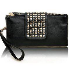 New Fashion Women Leather Handbag Retro Rivet Leopard Designer Luxury Female Purse Wallet Day Clutch Bag bolsa feminina LJ2341