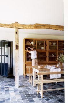 like the blue tile on the floor :: renovated farmhouse, Poland