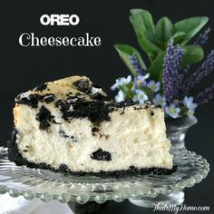 Oreo Cheesecake Recipe - creamy, smooth and so rich with a Oreo crust and topping. So good! from That's My Home