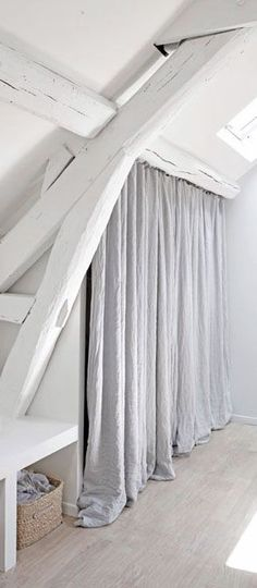 Loft = white beams and wardrobe curtains House Design, House, Interior, Home, Home Bedroom, House Styles, Attic Rooms, Home Deco, White Beams