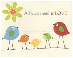 All You Need Is Love Wall Art For Kids Room Baby by DesignByMaya, $17.00
