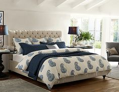 Bedroom Ideas - Chesterfield   Pottery Barn inspiration. dark night stands, cream bed frame