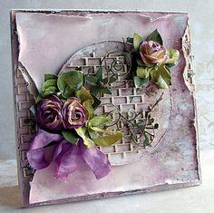 Shabby Chic Vintage mauve / purple handmade card by Riddersholm Design
