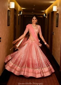 Looking for Ombre pink banarsi lehenga by Anita DOngre? Browse of latest bridal photos, lehenga & jewelry designs, decor ideas, etc. on WedMeGood Gallery. Mehendi Outfits, Bridal Outfits, Bridal Dresses, Eid Outfits, Eid Dresses, Lehenga Designs, Indian Attire, Indian Ethnic Wear, Indian Style