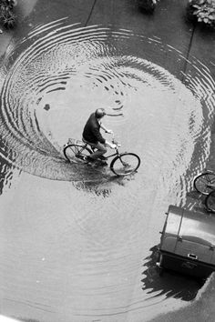 Vintage Ride | puddle | rain | cycle | bicycle | winter | fun | birds eye view | www.republicofyou.com.au