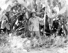 Rogerio Rocha, standing near a cactus patch, 1898. Rocha, who died in 1904, was the last of the original Indians to live at the San Fernando Mission. Rocha was a  silversmith, blacksmith, high ranking tribe member. Glendale Central Public Library, San Fernando Valley History Digital Library.