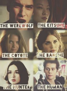 allison argent, lydia martin, scott mccall, stiles stilinski, teen wolf, kira yukimura, malia tate. They either spelt banshee wrong or just couldnt fit the extra e....
