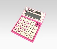 "Hello Kitty Calculator: Pink Dot | - 5.5""H x 4""W x 1.25""D  - 12 digit display  - solar powered  - ABS plastic"