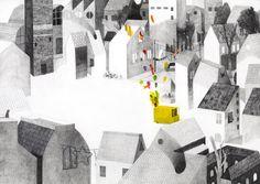 Illustration by Simone Rea – from 'L'uomo dei palloncini / The balloon man' (written by Giovanna Zoboli)