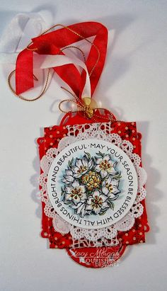 Made a gift tag using the new Star Of Bethelehem from Flourishes.  www.flourishes.org