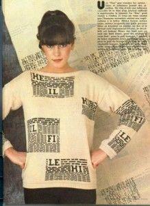 """En réponse à la demande de Chloé, Cécile nous adresse les explications de ce pull """"Journal """" Ce modèle est paru dans le numéro 84 du mois d'octobre 1980. Ouvrages Marie ROCHUT et photos Marcel DUFFAS."""