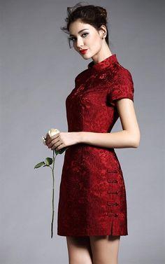 ee-DRESS-EZI-38038-DARK RED Lace Short Sleeve, Turtle Neck Dress - SALE - via buyinvite.com.au - Stylish & Elegant<3