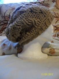 hand crochet slouchy cable hat