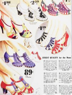 I need all of these 1930s shoes.... Vintage Clothes/ Fashion Ads of the 1930s (Page 2)