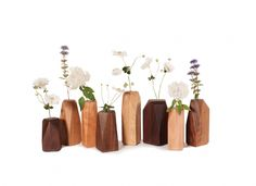 Wooden Bud Vases are available in a variety of wood species. Handcrafted at The Joinery