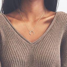 Double Horn Necklace Necklaces - Stargaze Jewelry