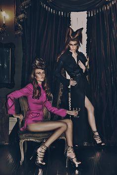 Fashion two girls, models, editorial