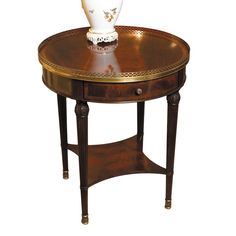 Round Mahogany Lamp Table with Brass Gallery