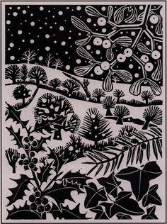 'December' by Carry Akroyd from John Clare's 'The Shepherd's Calendar' (linocut) Christmas Illustration, Illustration Art, Linocut Prints, Art Prints, Block Prints, Linoprint, Guache, Motif Floral, Christmas Art