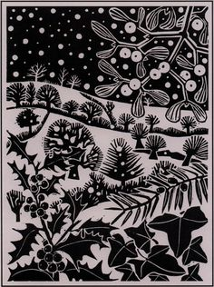 'December' by Carry Akroyd from John Clare's 'The Shepherd's Calendar' (linocut)