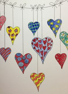 Doodle hearts bunting, ink and watercolour