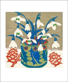 Snowdrops Matt underwood woodblock print