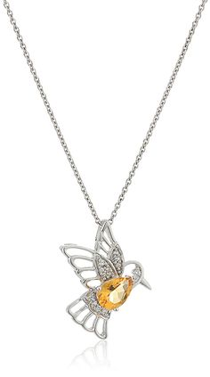 Sterling Silver Citrine with Created White Sapphire Bird Pendant Necklace, 18' >>> You can get more details by clicking on the image.